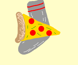 Slice of pizza on sock