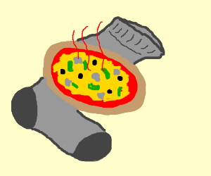 Hot pizza served on a sock