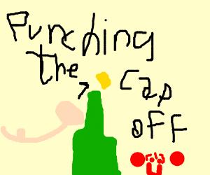 punching off a bottle cap