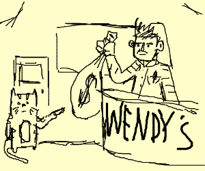 Cat with flip knife robbing a Wendy's