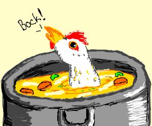 Live chicken noodle soup