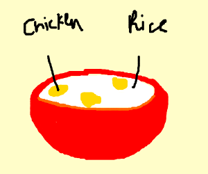chicken n  rice in a bowl