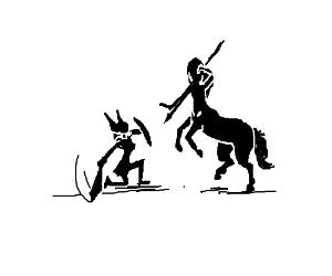 Female Centaur Attacks Valkyrie