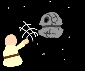 A boy throwing the death star.