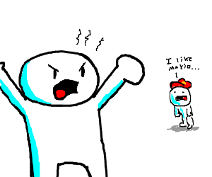 Theodd1sout is angry bout a mario fan