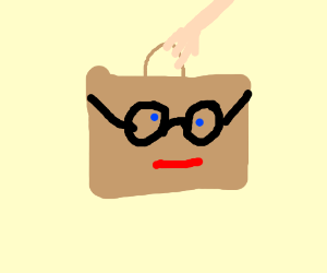 literally a paper bag with glasses