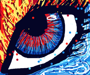 Eye between fire and ice