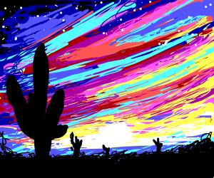 Rainbow sunset over colourful desert