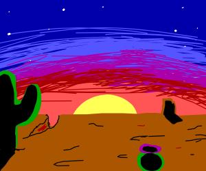 Beautiful sunset behind a desert