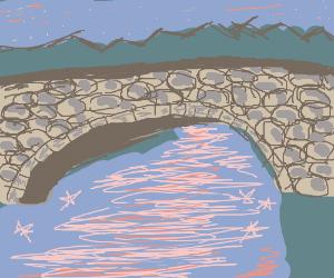 Bridge over shining river
