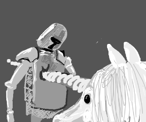 Unicorn stabbing Knight with it's horn