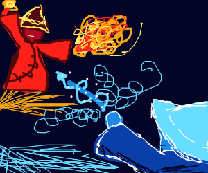 Epic drawing of a Fire vs Ice Wizard fight.