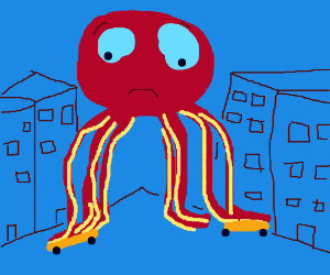 Giant octopus is too big for skateboards
