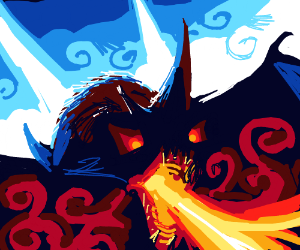 Dragon breathes fire