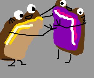 PB Bread high fives Jelly Bread!