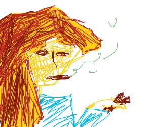 deep drawing of an asian girl smoking sum cigs