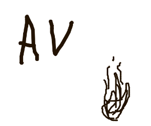 "The letters ""AV"" and a single flame. Black andWhite"