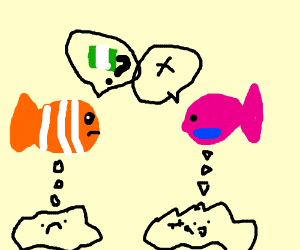 little nemo asking another fish for money