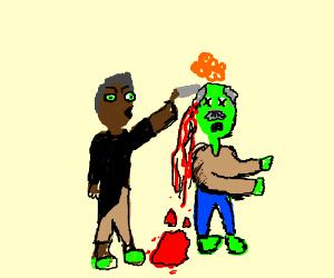 old man kills older zombie