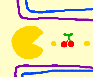 Pacman eating a cherry