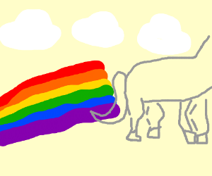 Transparent unicorn flying in a blue sky and farting rainbow