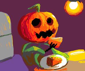 a pumpkin man eating pumpkin pie0