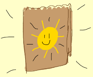 a lunchbag with the sun on it