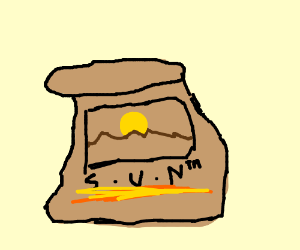 a picture of the sun on a bag
