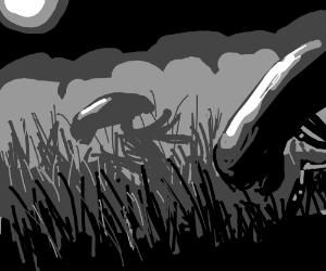 Aliens wandering through tall grass
