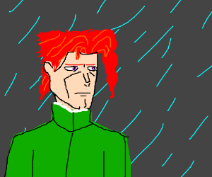 Anime man contemplates life in the rain
