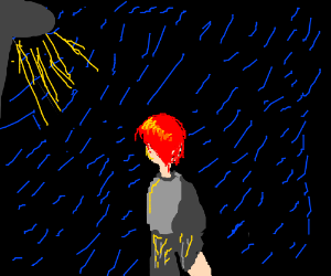 red haired anime stands in rain