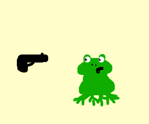 gun pointing at a frog