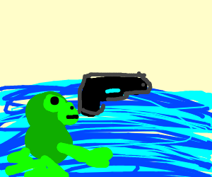 Floating gun and frog