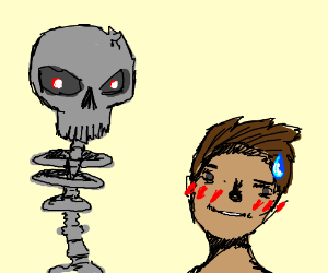 Scary skeleton makes boy ambivalent