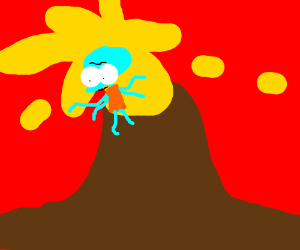 Squidward coming out of a volcano eruption
