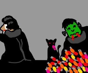 vampire watches cat&fsteinsmonster eat candy