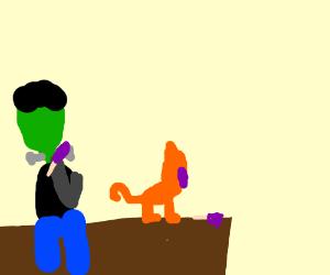 Frankenstein's monster & cat eat popcicles