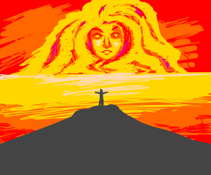 Man at edge of cliff speaks to sun goddess