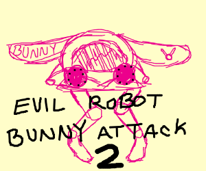 evil robot pink bunny attack 2
