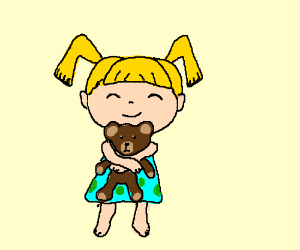 Girl hugs her teddy bear.