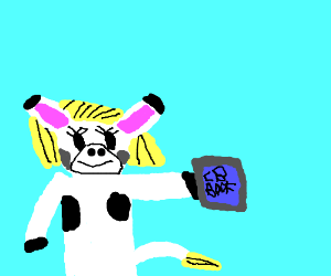 A cow with a hairdo taking IB classes