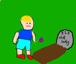 Boy is sad old lady died