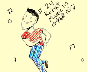 Man dancing to bruno mars music
