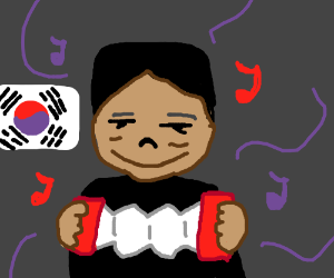 Kim Jong Un playing the accordion