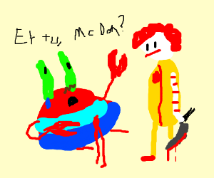 Mr crabs gets staged by Ronald mc donald