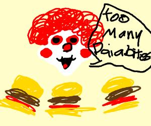 Ronald has too many burgers
