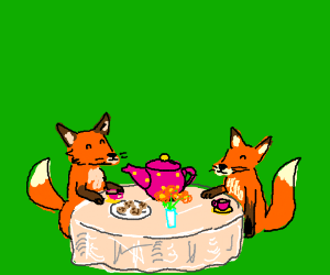 Foxes have tea party