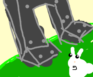 Rabbit looking up to a mech in fear