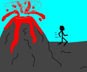 Guy running away from volcano