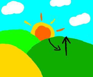 sun rising over grassy hill plains